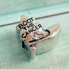 1 Cowboy BOOT THE CANCER PINK Ribbon Breast Cancer Awareness European Bead Charm