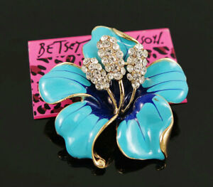Betsey Johnson Blue Enamel Crystal Bauhinia Flower Brooch Pin Women's Gift