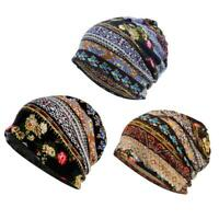 3x unisexe élégant baggy slouchy coton bonnet chimio turban foulard
