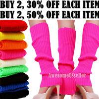 Women Crochet Knit Ribbed Leg Warmers Solid Knee High Winter Wool Boot Sock Long
