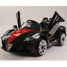 Black 12V Rechargeable Kids Electric Ride On 2 Speed Car with RC Mp3 Music Light