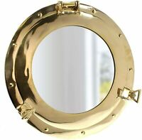 "9"" Solid Brass Porthole Mirror,Maritime-Ship Nautical Home Decor/Boat Fan Gift"