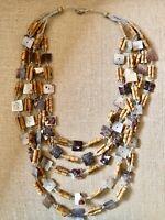 Maya Evangelista Artisan Shell, Wooden Bead  5 Strand Statement Necklace