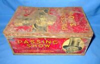 Vintage Original Old Rare Collectible Passing Show Cigarette Adv Litho Tin Box