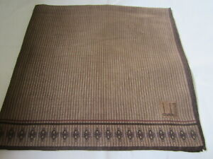 "USED BROWN STRIPED PATTERN COTTON 18"" HANKIE HANDKERCHIEF POCKET SQUARE FOR MEN"