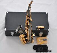 Professional Mercury Curved Bb Soprano Saxophone Black Nickel Gold Sax High F#