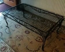 LARGE HEAVY ANTIQUE FRENCH ART DECO STYLE BLACK WROUGHT IRON GARDEN COFFEE TABLE
