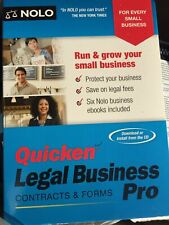 Authentic Nolo Quicken LEGAL Business Pro CONTRACTS and Forms -New