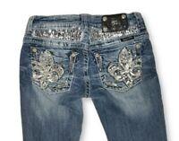 Buckle Miss Me JE5687BL Bootcut Sequin Fleur de lis Jeans Womens  Size 27  27×32