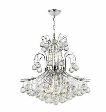"""9-Light Chrome Finish D 19"""" x H 23"""" Empire Collection Crystal Chandelier Light"""