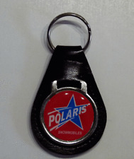 Reproduction Vintage Polaris Snowmobile Blue Star Medallion Leather Keychain