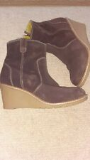 Boden brown suede ankle boots size 40/7. Leather lined wedge heel.