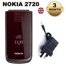 NUOVA condizione Classic Nokia 2720 Rosso Flip Fold Cellulare Sbloccato Brand
