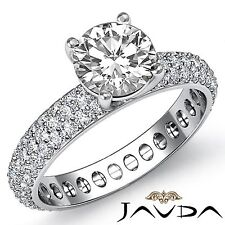 Gia F Si1 14k White Gold 2.5ct Round Cut Diamond Engagement Eternity Style Ring