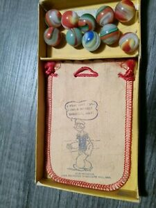 1935 Popeye Vintage Akro Agate Marble Set with Bag, Box and Most of the Marbles!