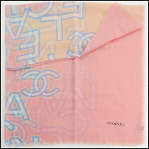 RDC11111 Authentic Chanel Pink/Blue/Beige Cashmere Scarf Wrap