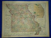 Vintage 1892 MISSOURI MAP Old Antique Original Atlas Map