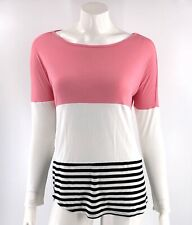 Olivia Sky Top Size Small Colorblock Pink White Black Curved Hem Lace Back Shirt