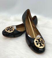 NIB Tory Burch Women's Minnie Cap Toe Black Nappa Leather Flat Ballet Shoe Sz 8M