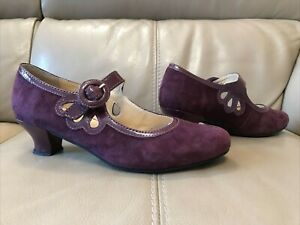 HOTTER 'VALETTA' PURPLE SUEDE MARY JANE SHOES SIZE 7 (41)