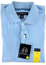 HATHAWAY Men's Short Sleeve POLO SHIRT Soft Cotton T Shirt PALE BLUE Top