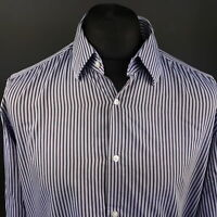 HUGO BOSS Mens Shirt 42 16.5 (LARGE) Long Sleeve Blue Regular Fit Striped Cotton