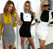 Womens Ladies Check Dog Tooth Frill Ruffle Pinafore Bodycon Party Mini Dress Top