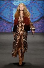 Anna Sui Lamb Fur High Fashion Runway Vest, Blue, Size S