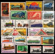 Railways On Stamp-25 Different Large-Worldwide Mixed Thematic Mostly Used Stamps