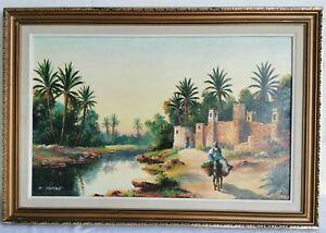 E JANTET Tableau HUILE sur Panneau XXe Signe Paysage ORIENTALISTE Peinture Art 8