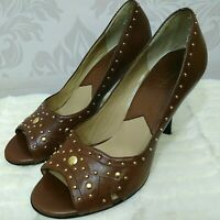 Michael Kors Brown Leather Peep Toe Heels Gold Studded Womens Size 10 Pumps