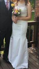 Formal Long Gown Dress Size 6 Wedding Holiday White 2-piece