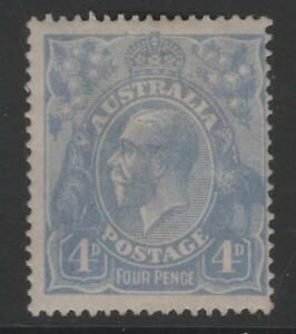 1922 KGV 4d Blue Single WMK Australia Mint Hinged