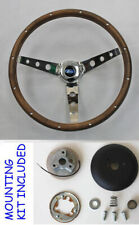 "15"" Steering Wheel Wood Chrome with Ford Cap Fits Ididit Flaming River Column"
