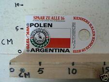 STICKER,DECAL WK ARGENTINA 1978 VOETBAL,SOCCER JH HENKES POLEN