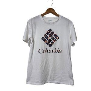 Columbia Womens Park Active Logo SS T-Shirt White Size Medium Cotton AL2373 EUC