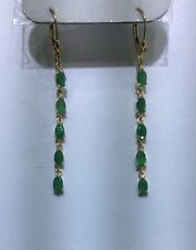 14k Solid Yellow Gold Emerald Dangle Earring 2.07GM