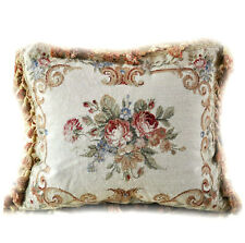 "16"" x 20"" Gold Floral Throw Pillow Cover | Handmade Needlepoint Lumbar Pillow"