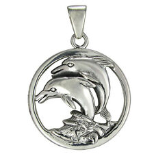 Sterling Silver Dolphins Riding Sea Wave Pendant Marine Fish Totem Jewelry