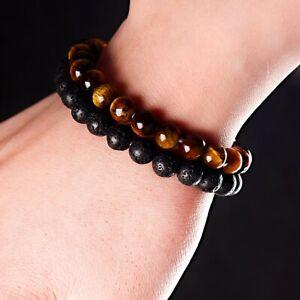 2PCS Men Healing Bracelet Classic Lava Rock Tiger Eye Gem Stone Beaded Bracelet