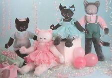 "Stuffed kitten doll Craft Pattern Jean Kirk leaflet Vtg 80s 18"" 20"" kitty cat"