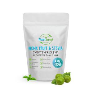 NatriSweet Monk Fruit & Stevia Sweetener Blend 4oz, Zero-Carb, Sugar Substitute
