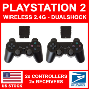 2x For Sony PS2 Playstation 2.4G Wireless Shock Game Controller Joystick Joypad
