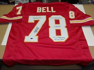 BOBBY BELL KANSAS CITY CHIEFS,HOF 03,SB IV CHAMPS RED W/HOLO SIGNED JERSEY