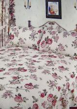 SINGLE BED COMP SET MARYLAND FLORAL BURGUNDY PINK LEAF DUVET COVER VALANCE SHEET