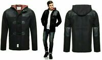 D-STRUCT MENS WOOL TOGGLE DUFFLE FORMAL JACKET PVC HOODED WARM TARTAN LINED COAT