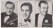 3 VINTAGE MUTOSCOPE POSTCARDS - GUY LOMBARDO - ENRIC MADRIQUERA - CLYDE LUCAS