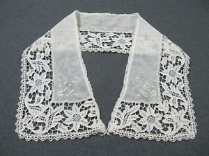 Antique flowers & leaves lace embroidery tulle large collar  Unused   #53G