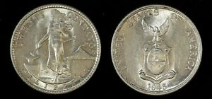 1945 D Philippines 20 Centavos Silver 20 Cent Eagle / Hammer / Anvil UNC  Coin