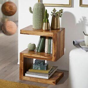 FineBuy Table d'appoint Bois Massif 44x60x30cm Bout de canapé Table de Salon
